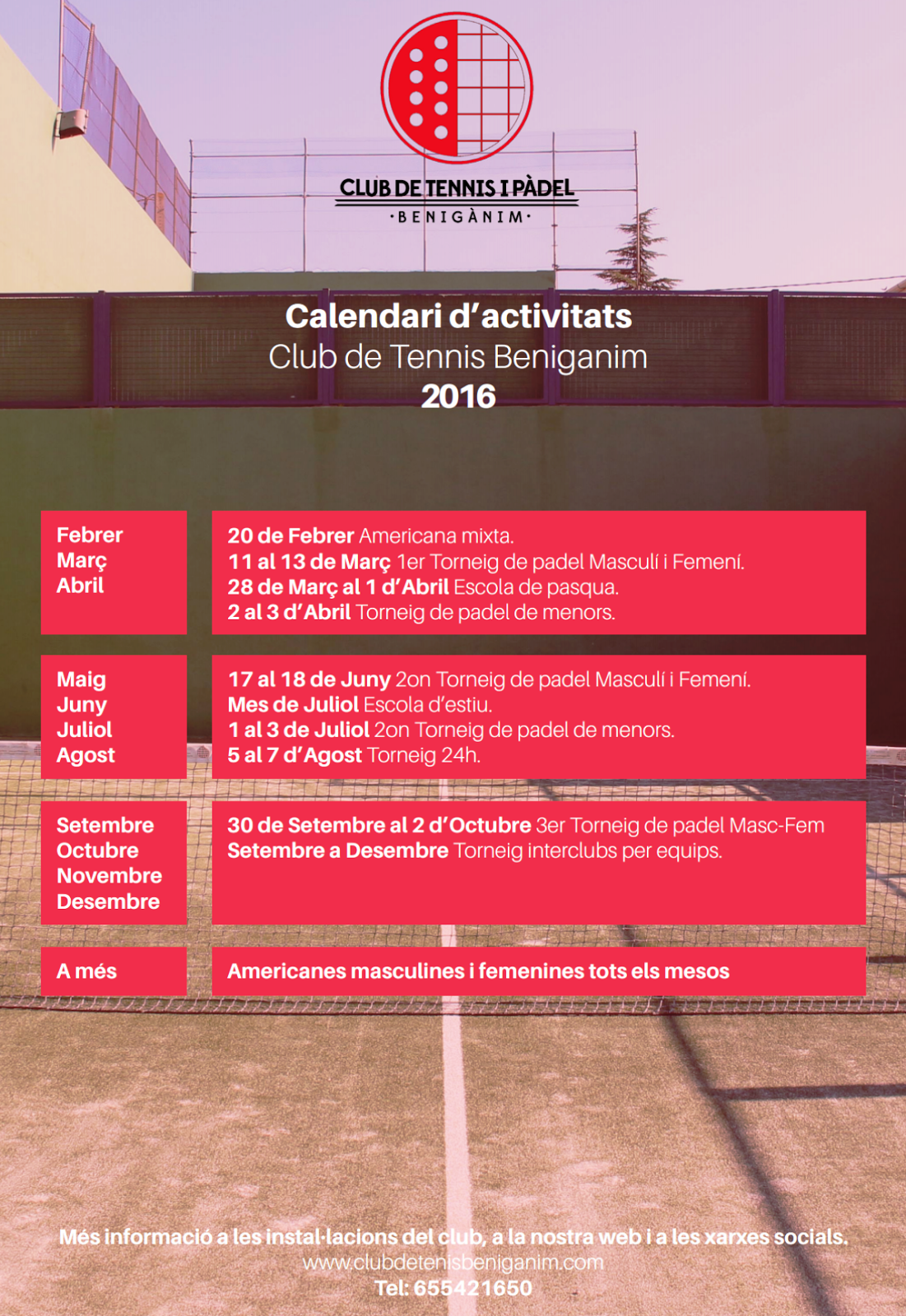 CALENDARI DE ACTIVITATS 2016